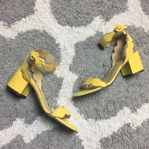 UNISA | Yellow Suede Buckle Strap Block Heels